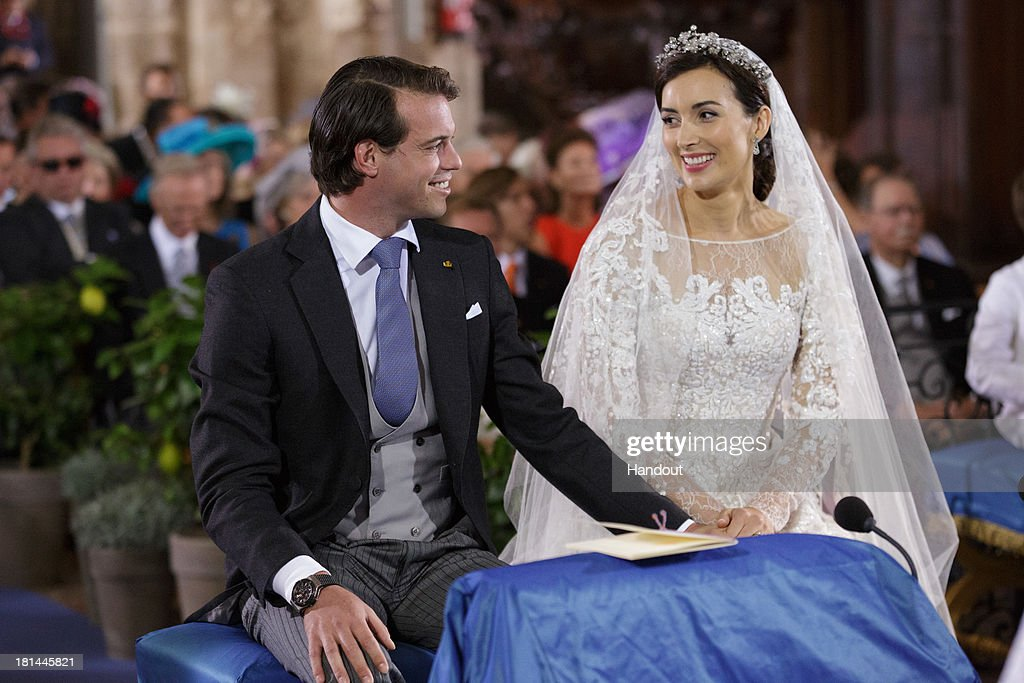 In this handout image provided by the Grand-Ducal Court of Luxembourg, Princess Claire Of Luxembourg and Prince Felix Of Luxembourg are seen during their wedding ceremony at the Basilique Sainte Marie-Madeleine on September 21, 2013 in Saint-Maximin-La-Sainte-Baume, France. ©Grand-Ducal Court/Guy Wolff/All rights reserved.