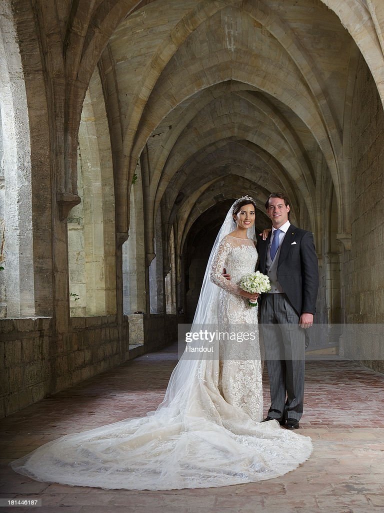 In this handout image provided by the Grand-Ducal Court of Luxembourg, Princess Claire Of Luxembourg and Prince Felix Of Luxembourg pose for an official photo inside the Couvent Royal De Saint-Maximin after their wedding ceremony which took place at the Basilique Sainte Marie-Madeleine on September 21, 2013 in Saint-Maximin-La-Sainte-Baume, France. ©Grand-Ducal Court/Guy Wolff/All rights reserved.