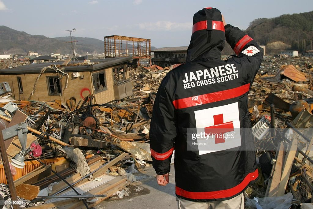 In this handout image provided by the International Federation of Red Cross Japan, a Japanese Red Cross volunteer surveys the damage 19, 2011 in Otsuchi, Iwate prefecture, Japan. More than a week after a magnitude 9.0 earthquake and subsequent tsunami struck Japan, the death toll has risen to over 8,000 with thousands more still missing.