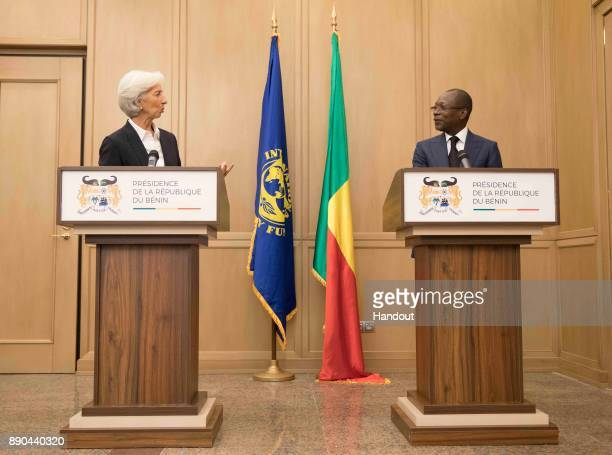 In this handout image provided by the International Monetary Fund nternational Monetary Fund Managing Director Christine Lagarde and Benin President...