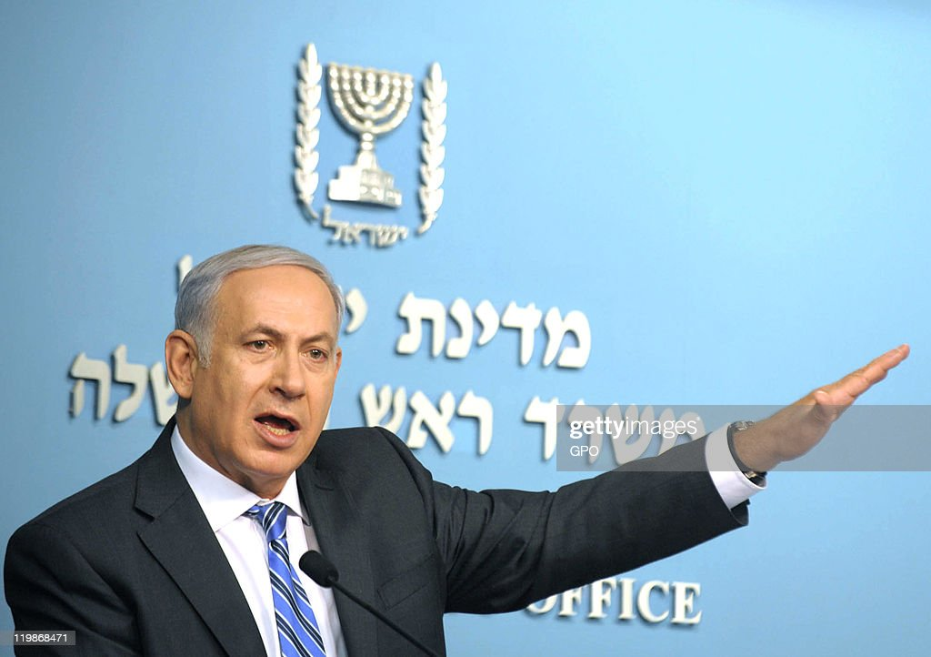 In this handout image provided by the Israeli Government Press Office, Israeli Prime Minister Benjamin Netanyahu speaks during a press conference on July 26, 2011 in Jerusalem, Israel. The PM made comments on Israel's housing crisis.