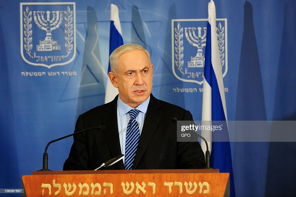 In this handout image provided by the Israeli Government Press Office (GPO), Israeli Prime Minister <a gi-track='captionPersonalityLinkClicked' href=/galleries/search?phrase=Benjamin+Netanyahu&family=editorial&specificpeople=118594 ng-click='$event.stopPropagation()'>Benjamin Netanyahu</a> speaks at a press conference at the defense ministry November 14, 2012 in Tel Aviv, Israel. Earlier today Netanyahu visited the Syrian border. He asserted that Israel would defend its border as the Syrian civil war threatened to destabilize the region.
