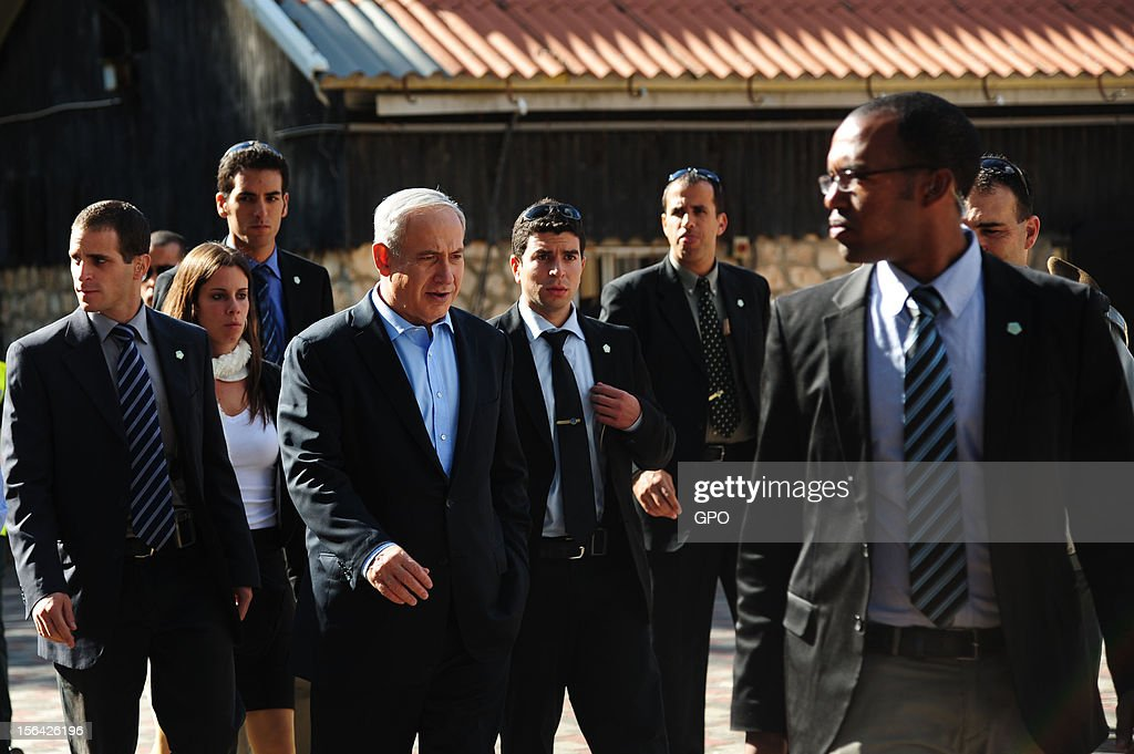 In this handout image provided by the Israeli Government Press Office (GPO), Israeli Prime Minister <a gi-track='captionPersonalityLinkClicked' href=/galleries/search?phrase=Benjamin+Netanyahu&family=editorial&specificpeople=118594 ng-click='$event.stopPropagation()'>Benjamin Netanyahu</a> visits the IDF Northern Command November 14, 2012 in Israel. Netanyahu asserted that Israel would defend its border as the Syrian civil war threatened to destabilize the region.