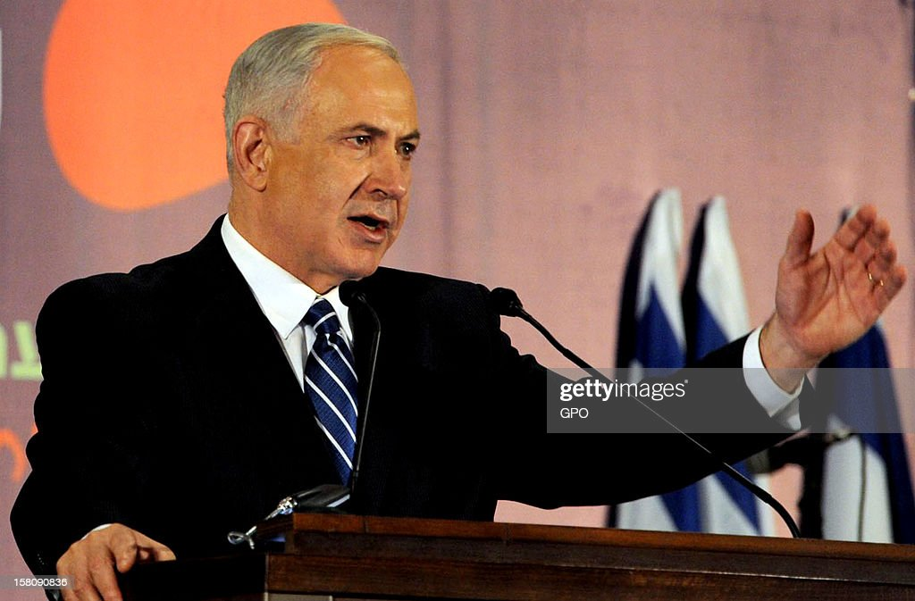 In this handout image provided by the Israeli Government Press Office (GPO), Prime Minister <a gi-track='captionPersonalityLinkClicked' href=/galleries/search?phrase=Benjamin+Netanyahu&family=editorial&specificpeople=118594 ng-click='$event.stopPropagation()'>Benjamin Netanyahu</a> delivers a speech during an event with members of the foreign press on December 10, 2012 in Jerusalem, Israel.