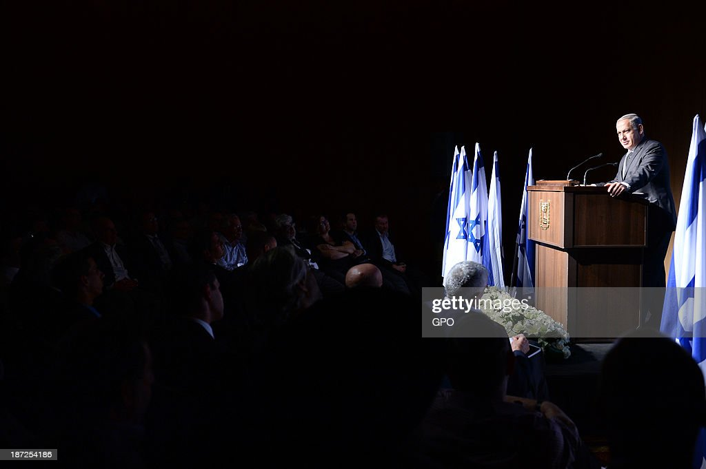 In this handout image provided by the Israeli Government Press Office (GPO), Prime Minister Benjamin Netanyahu delivers a speech at a conference organized by the Jewish Agency November 7, 2013 in Jerusalem, Israel. Netanyahu gave the final address at the agency's summit, which convened to launch an outreach program to Jews around the world.