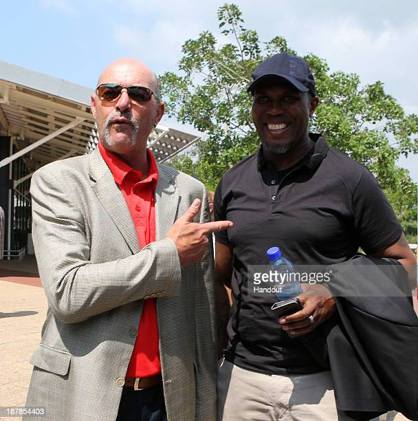 In this handout image provided by the ITM Group Bruce Grobbelaar and Brian Baloyi during the Liverpool FC Legends Tour arrival at King Shaka...