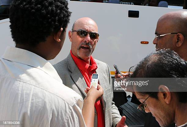In this handout image provided by the ITM Group Bruce Grobbelaar is interviewed by media during the Liverpool FC Legends Tour arrival at King Shaka...