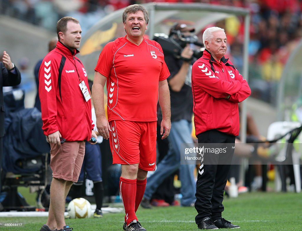 In this handout image provided by the ITM Group, Jan Molby of Liverpool Legends during the Legends match between Liverpool FC Legends and Kaizer Chiefs Legends at Moses Mabhida Stadium on November 16, 2013 in Durban, South Africa.