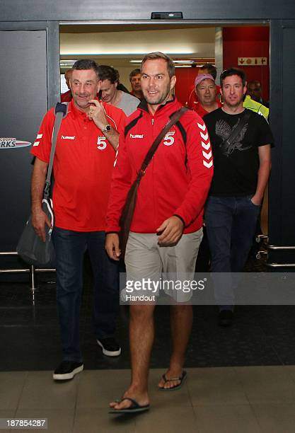 In this handout image provided by the ITM Group John Aldridge Jason McAteer and Robbie Fowler during the Liverpool FC Legends Tour arrival at King...