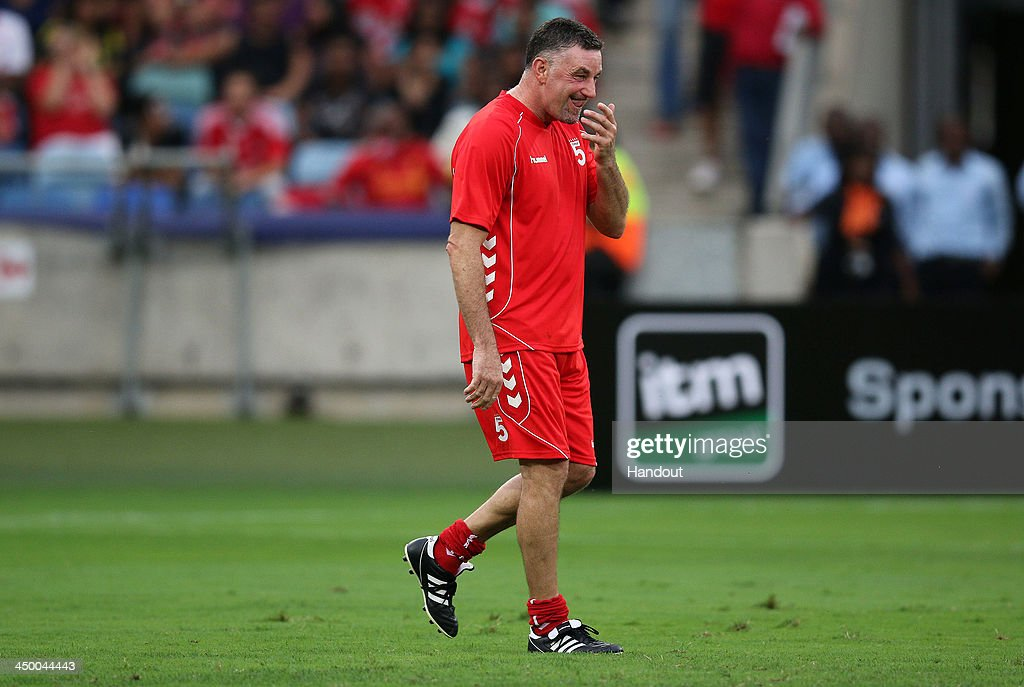 In this handout image provided by the ITM Group, John Aldridge of Liverpool FC Legends during the Legends match between Liverpool FC Legends and Kaizer Chiefs Legends at Moses Mabhida Stadium on November 16, 2013 in Durban, South Africa.