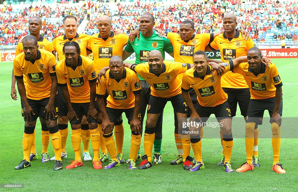 In this handout image provided by the ITM Group, Kaizer Chiefs legends players pose for a team photo during the Legends match between Liverpool FC Legends and Kaizer Chiefs Legends at Moses Mabhida Stadium on November 16, 2013 in Durban, South Africa.