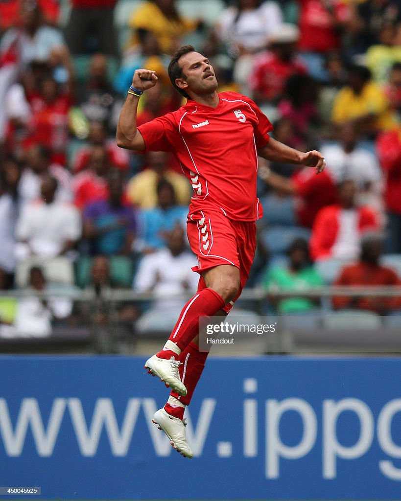 In this handout image provided by the ITM Group, Patrik Berger of Liverpool FC Legends during the Legends match between Liverpool FC Legends and Kaizer Chiefs Legends at Moses Mabhida Stadium on November 16, 2013 in Durban, South Africa.
