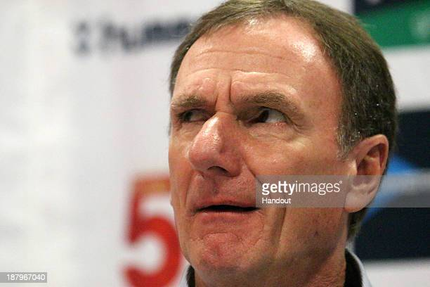 In this handout image provided by the ITM Group Phil Thompson attends the Liverpool FC Legends Tour Prematch press conference at Moses Mabhida...
