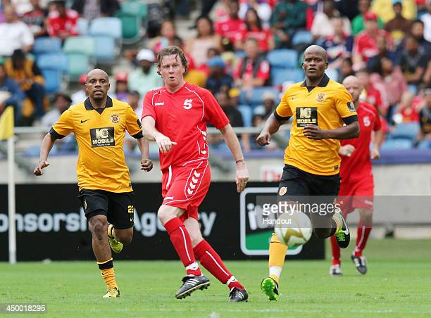 In this handout image provided by the ITM Group Steve McManaman during the Legends match between Liverpool FC Legends and Kaizer Chiefs Legends at...