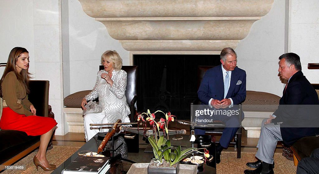 In this handout image provided by the Jordan Royal Household, King Abdullah II of Jordan (R) during a meeting with <a gi-track='captionPersonalityLinkClicked' href=/galleries/search?phrase=Prince+Charles&family=editorial&specificpeople=160180 ng-click='$event.stopPropagation()'>Prince Charles</a>, the Prince of Wales (2R), <a gi-track='captionPersonalityLinkClicked' href=/galleries/search?phrase=Camilla+-+Duchesse+de+Cornouailles&family=editorial&specificpeople=158157 ng-click='$event.stopPropagation()'>Camilla</a>, Duchess of Cornwall (2L) and Queen Rania of Jordan (L) on March 11, 2013 in Amman, Jordan. <a gi-track='captionPersonalityLinkClicked' href=/galleries/search?phrase=Prince+Charles&family=editorial&specificpeople=160180 ng-click='$event.stopPropagation()'>Prince Charles</a>, the Prince of Wales and <a gi-track='captionPersonalityLinkClicked' href=/galleries/search?phrase=Camilla+-+Duchesse+de+Cornouailles&family=editorial&specificpeople=158157 ng-click='$event.stopPropagation()'>Camilla</a>, Duchess of Cornwall are on a nine day tour of the Middle East, during which they are visiting Jordan, Qatar, Saudi Arabia and Oman.
