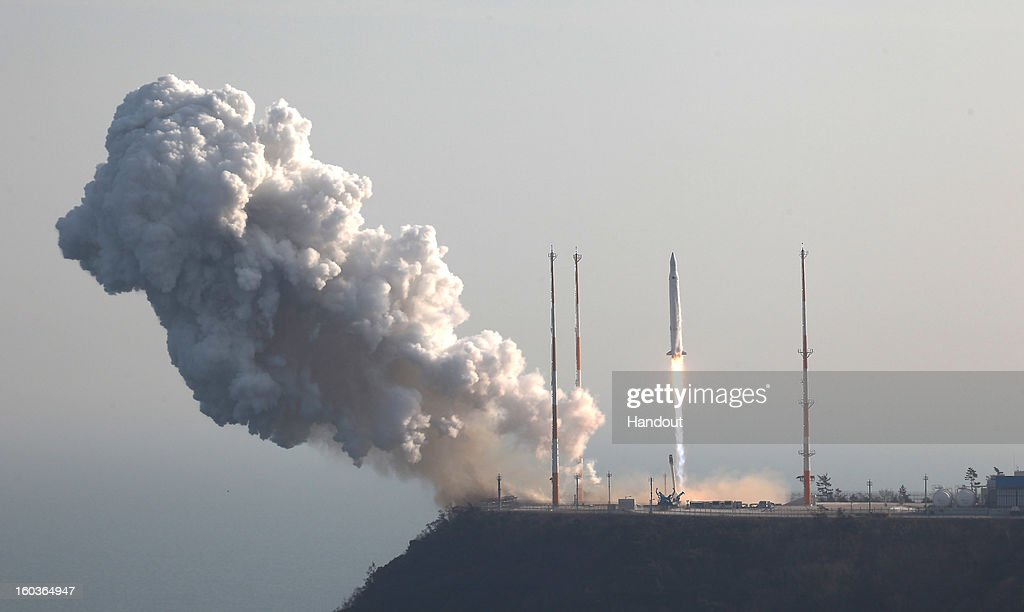 In this handout image provided by the Korea Aerospace Research Institute, KSLV-1 (Naro) rocket lifts off from the launch pad at Goheung Space Center on January 30, 2013 in Goheung-gun, South Korea. The rocket was originally scheduled to launch in November 2012 following two previous unsuccessful attempts in 2009 and 2010.