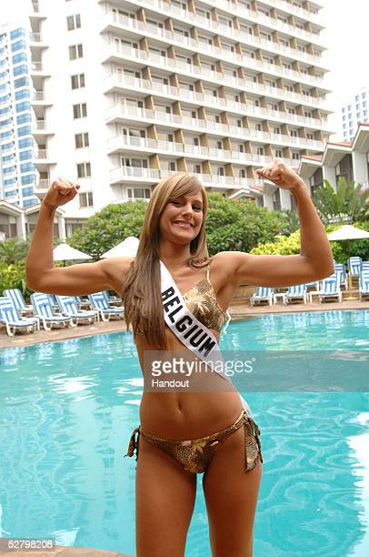 In this handout image provided by the Miss Universe LP LLLP Debby De Waele Miss Belgium Universe 2005 shows off her physique in her BSC swimsuit at...
