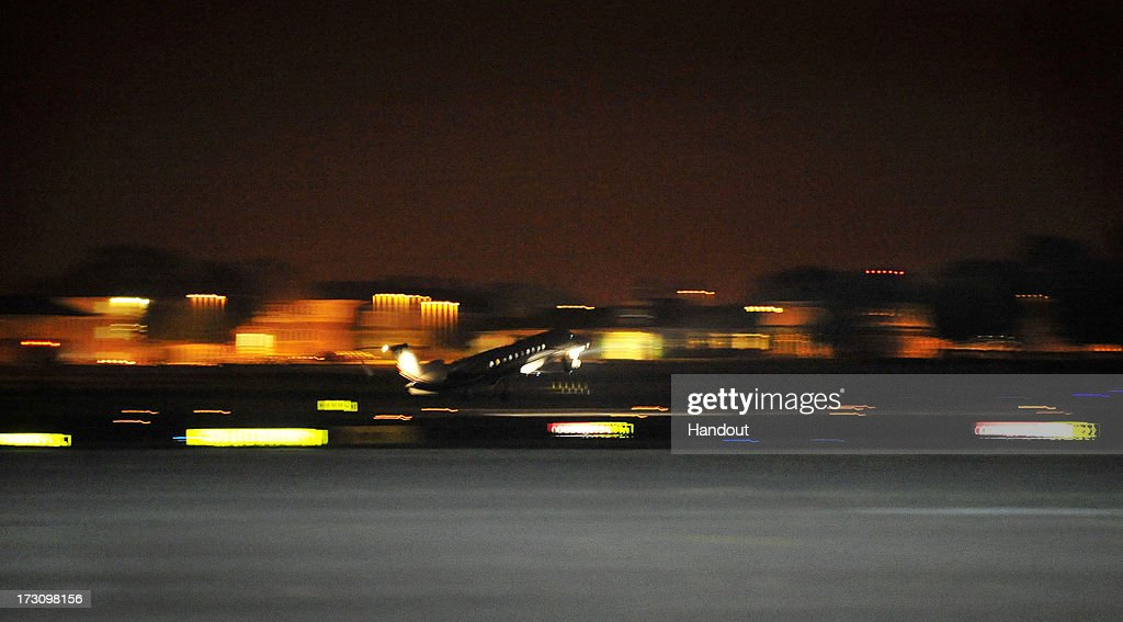 In this handout image provided by the MoD, a plane carrying radical cleric Abu Qatada takes off from RAF Northolt heading to Jordan, after he was deported from the UK to face terrorism charges in his home country, on July 7, 2013 in London, England.