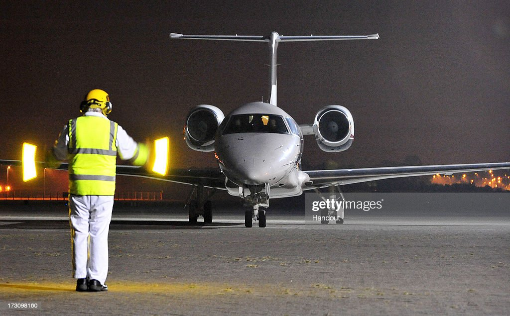 In this handout image provided by the MoD, a plane carrying radical cleric Abu Qatada prepares to take off from RAF Northolt before heading to Jordan, after he was deported from the UK to face terrorism charges in his home country, on July 7, 2013 in London, England.