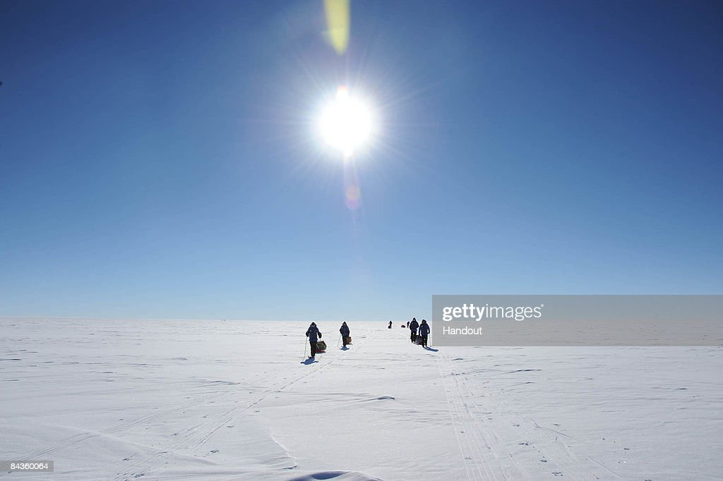 In this handout image provided by the Monaco Palace, Prince Albert II of Monaco and team journey to the geographical South Pole on January 14, 2009 in Antartica.