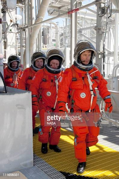 In this handout image provided by the National Aeronautics and Space Administration during a simulated pad emergency on Launch Pad 39A STS134 Mission...
