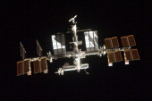In this handout image provided by the National Aeronautics and Space Administration the International Space Station photographed by a crewmember...