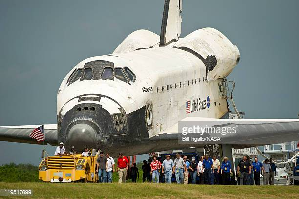 In this handout image provided by the National Aeronautics and Space Administration space shuttle Atlantis is rolled over to the Obiter Processing...