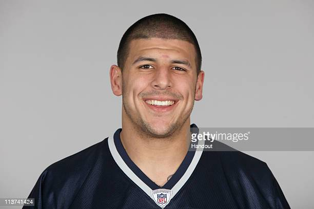 In this handout image provided by the NFL Aaron Hernandez of the New England Patriots poses for his 2010 NFL headshot circa 2010 in Foxborough...