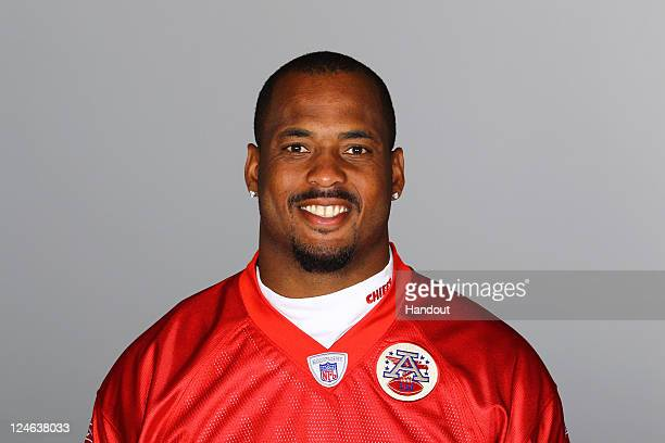 In this handout image provided by the NFL Derrick Johnson of the Kansas City Chiefs poses for his NFL headshot circa 2011 in Kansas City Missouri