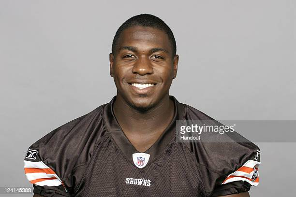 In this handout image provided by the NFL Jarrett Brown of the Cleveland Browns poses for his NFL headshot circa 2011 in Berea Ohio