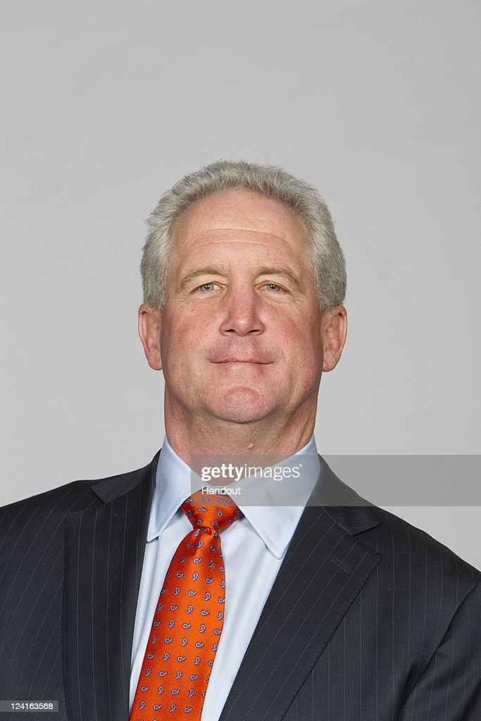 In this handout image provided by the NFL, John Fox of the Denver Broncos poses for his NFL headshot circa 2011 in Englewood, Colorado.