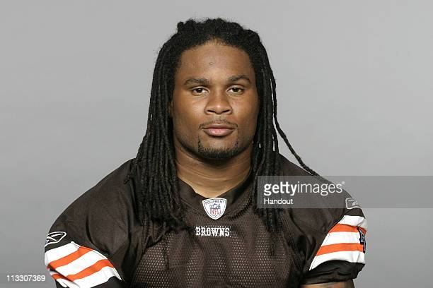 In this handout image provided by the NFL Josh Cribbs of the Cleveland Browns poses for his 2010 NFL headshot circa 2010 in Berea Ohio