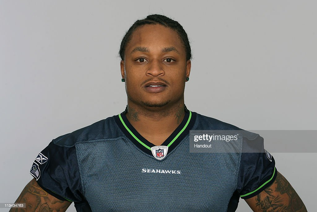 In this handout image provided by the NFL, LenDale White of the Seattle Seahawks poses for his 2010 NFL headshot circa 2010 in Renton, Washington.