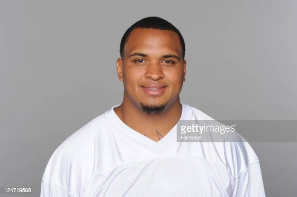 In this handout image provided by the NFL Mike Pouncey of the Miami Dolphins poses for his NFL headshot circa 2011 in Miami Florida
