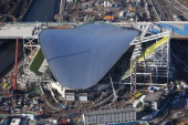 In this handout image provided by the Olympic Delivery Authority an aerial view reveals the Aquatics Centre of the London 2012 Olympic Games showing...
