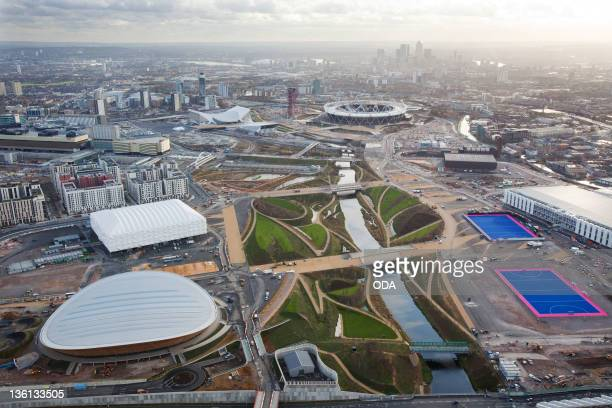 In this handout image provided by the Olympic Delivery Authority an aerial view looking south reveals a view of Parklands in the London 2012 Olympic...