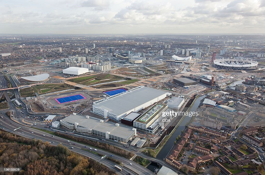 In this handout image provided by the Olympic Delivery Authority an aerial view looking southeast reveals a view of the London 2012 Olympic Games...