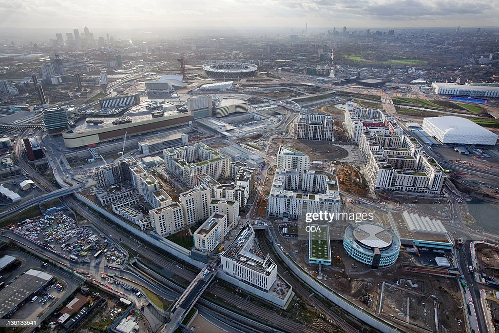 In this handout image provided by the Olympic Delivery Authority an aerial view looking southwest reveals a view of the Olympic Village in the London...