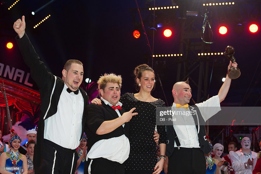 In this handout image provided by the Palais Princier de Monaco, Pauline Ducruet (2nd R) presents a Bronze Clown Award to The Equivokee during the Monte-Carlo 37th International Circus Festival Awards Ceremony on January 22, 2013 in Monte-Carlo, Monaco.