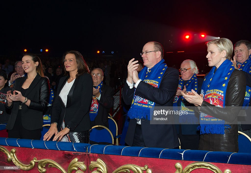 In this handout image provided by the Palais Princier de Monaco, (R to L) Princess Charlene of Monaco, Prince Albert II of Monaco, Princess Stephanie of Monaco and her daughter Pauline Ducruet attend the opening of the Monte-Carlo 37th International Circus Festival on January 17, 2013 in Monte-Carlo, Monaco.