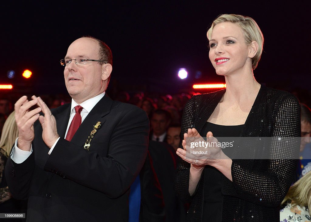 In this handout image provided by the Palais Princier de Monaco, Princess Charlene of Monaco and Prince Albert II of Monaco attend the Monte-Carlo 37th International Circus Festival Closing Ceremony on January 22, 2013 in Monte-Carlo, Monaco.