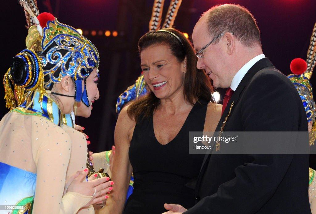 In this handout image provided by the Palais Princier de Monaco, Princess Stephanie of Monaco and Prince Albert II of Monaco attend the Monte-Carlo 37th International Circus Festival Closing Ceremony on January 22, 2013 in Monte-Carlo, Monaco.