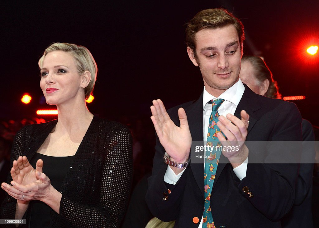 In this handout image provided by the Palais Princier de Monaco, Princess Charlene of Monaco and Pierre Casiraghi attend the Monte-Carlo 37th International Circus Festival Closing Ceremony on January 22, 2013 in Monte-Carlo, Monaco.