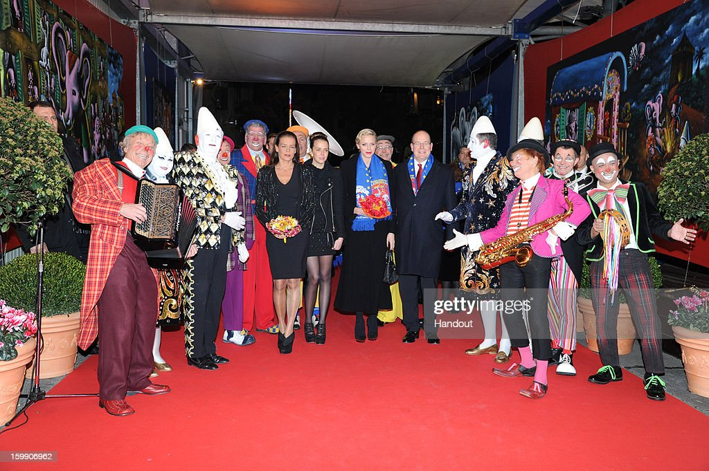 In this handout image provided by the Palais Princier de Monaco, Princess Stephanie of Monaco, Pauline Ducruet, Princess Charlene of Monaco and Prince Albert II of Monaco attend the Monte-Carlo 37th International Circus Festival Closing Ceremony on January 22, 2013 in Monte-Carlo, Monaco.