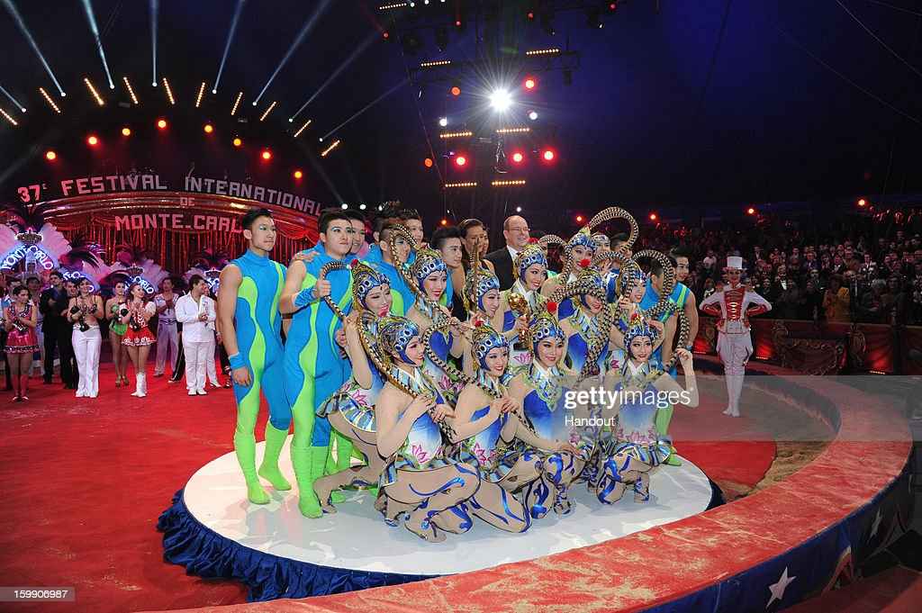 In this handout image provided by the Palais Princier de Monaco, Princess Stephanie of Monaco and Prince Albert II of Monaco attend the Monte-Carlo 37th International Circus Festival Closing Ceremony on January 22, 2013 in Monte-Carlo, Monaco.