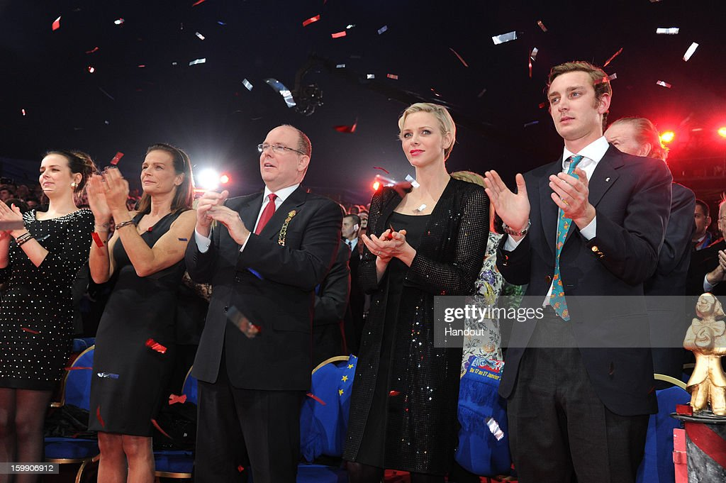 In this handout image provided by the Palais Princier de Monaco, Pauline Ducruet, Princess Stephanie of Monaco, Prince Albert II of Monaco, Princess Charlene of Monaco and Pierre Casiraghi attends the Monte-Carlo 37th International Circus Festival Closing Ceremony on January 22, 2013 in Monte-Carlo, Monaco.