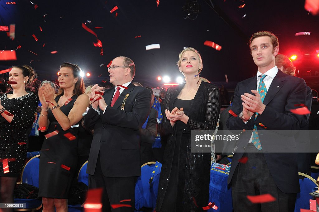 In this handout image provided by the Palais Princier de Monaco, Pauline Ducruet, Princess Stephanie of Monaco, Prince Albert II of Monaco, Princess Charlene of Monaco and Pierre Casiraghi attend the Monte-Carlo 37th International Circus Festival Closing Ceremony on January 22, 2013 in Monte-Carlo, Monaco.