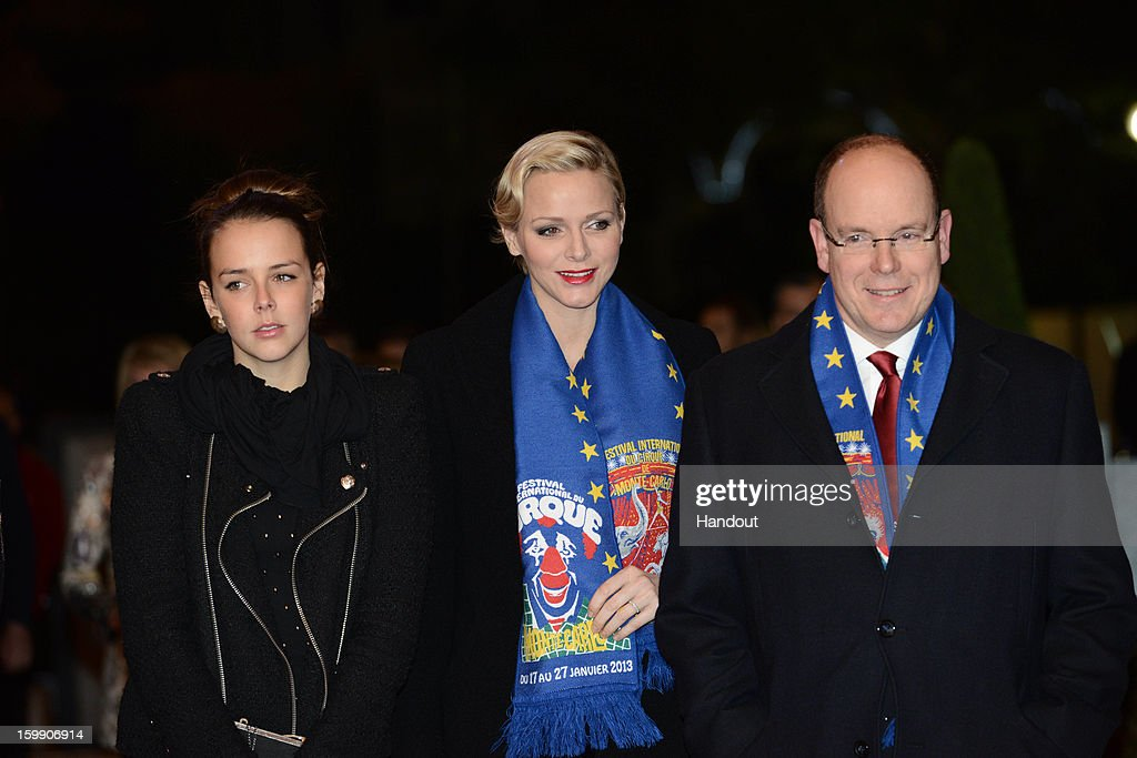In this handout image provided by the Palais Princier de Monaco, Pauline Ducruet, Princess Charlene of Monaco and Prince Albert II of Monaco attend the Monte-Carlo 37th International Circus Festival Closing Ceremony on January 22, 2013 in Monte-Carlo, Monaco.