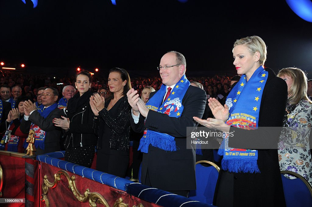In this handout image provided by the Palais Princier de Monaco, Pauline Ducruet, Princess Stephanie of Monaco, Prince Albert II of Monaco and Princess Charlene of Monaco attend the Monte-Carlo 37th International Circus Festival Closing Ceremony on January 22, 2013 in Monte-Carlo, Monaco.