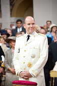 In this handout image provided by the Palais Princier Prince Albert II of Monaco smiles during the religious ceremony of the Royal Wedding and his...